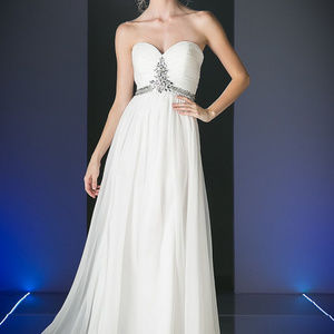 White Strapless Evening Long Dress